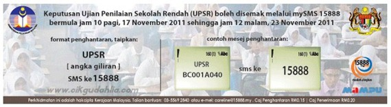 check upsr result sms