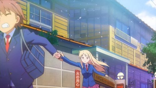Sorata rushing off camera to the left pulling Mashiro along by the hand as they exit their dorm's front gate with sakura petals flowing everywhere