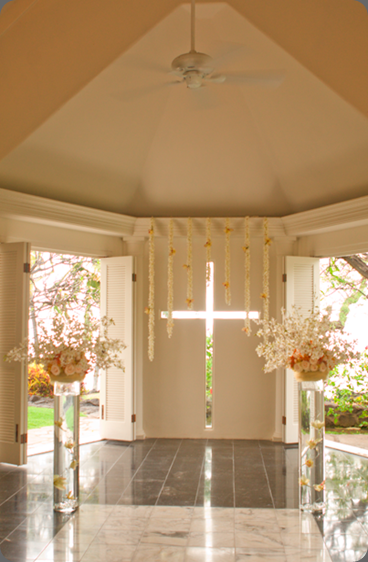 Peaches and cream chapel decor bliss in bloom