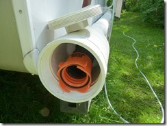 Raino sewer inside the PVC pipe.