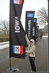 And the Iowa runner with the banner she represents.