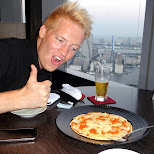 ready to feast on ikura (fish eggs) pizza in Shinagawa, Tokyo, Japan