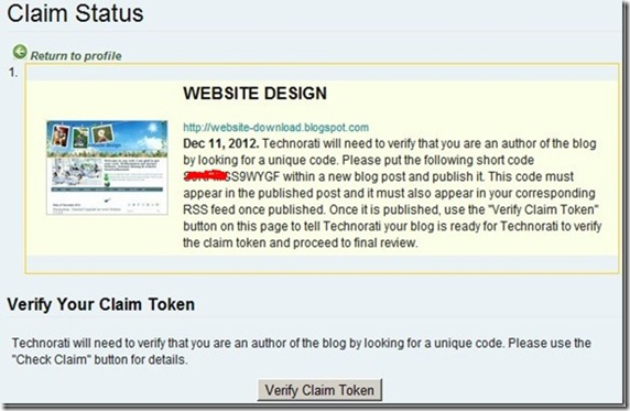 verify claim token for website design blog