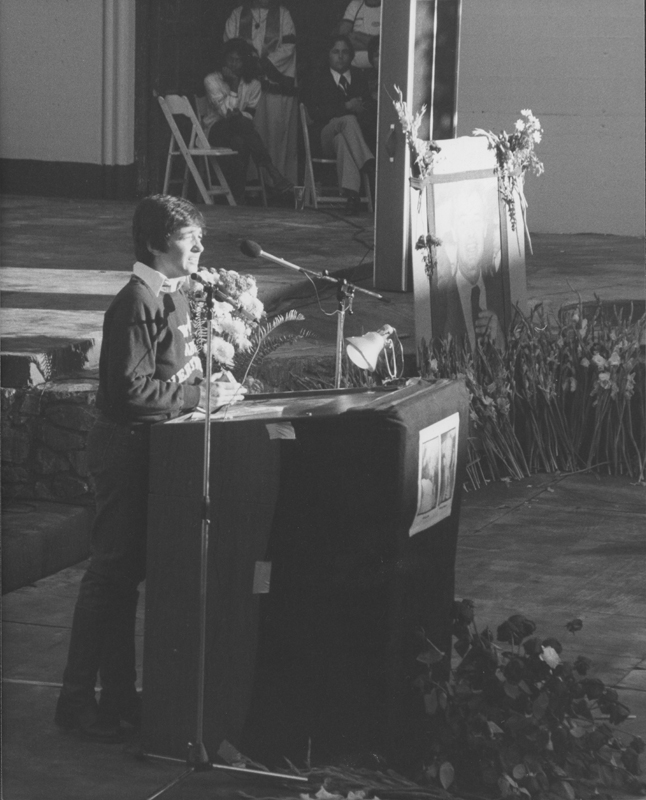 Robin Tyler speaks at the We Shall Go Forth, Harvey Milk/George Moscone Memorial Tribute at the John Anson Ford Theater. November 1978.
