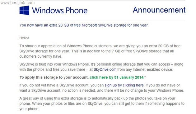 Microsoft Offering 20 GB SkyDrive Free Storage Space