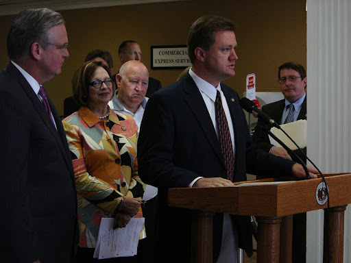 Rep. Bob Dixon-R appeared to express his support of the new law. (photo credit: Sam Senovich)