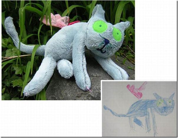 Brinquedos de pelúcia feitos a partir de desenhos de crianças (5)