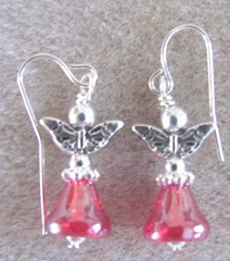 Cape red bell angel earrings with butterfly wings