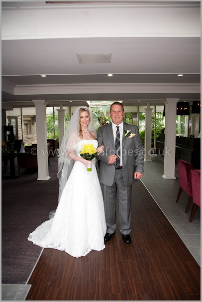 Jo and her Dad before her Wedding service at the Landmark Hotel Dundee