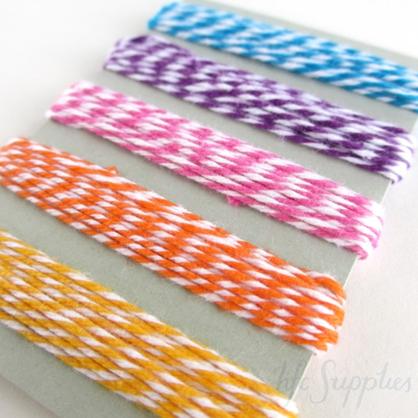 10m Bakers Twine 5 bright colours blue purple pink orange yellow 1
