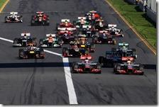 La partenza del gran premio d'Australia 2012