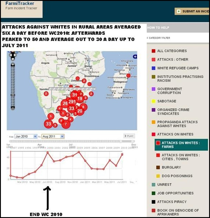ATTACKS AGAINST WHITES RURAL ONLY JAN2010 TO AUG12011 FARMITRACKER