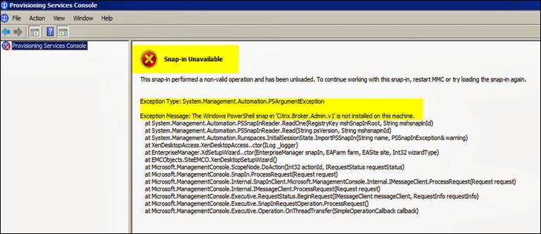 XenDesktop Setup Wizard fails after PVS upgrade.