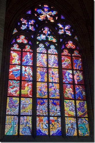 21 Stained glass window in St Vitus cathedral