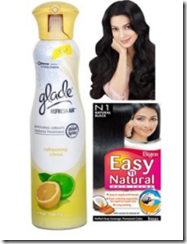 Shoplcues : Buy Pack of Glade Air Freshener & Bigen N Natural Color at Rs. 93 only