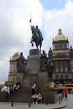 The statue to King Wenceslas is the heart of the square