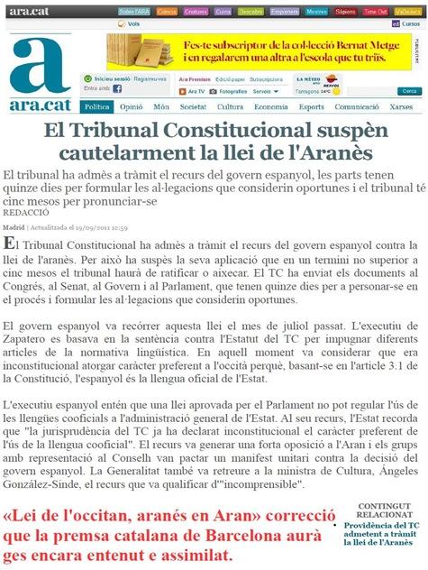 Lei de l'occitan arenés en Aran ARA 190911