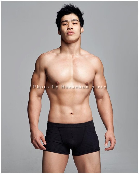 sexy asian guy in black boxer briefs