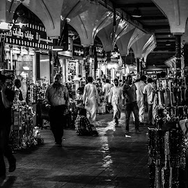 traditional market by Imed Kolli - City,  Street & Park  Markets & Shops ( old, black and white, traditional, travel, people, street photography, market, jeddah, streets, nikon, shoping, crowd, travel photography, saudi arabia, humanity, society )
