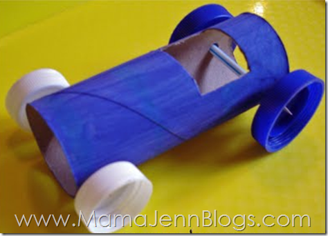 Rolling Race Car Tutorial: race car made from a toilet paper tube that really rolls