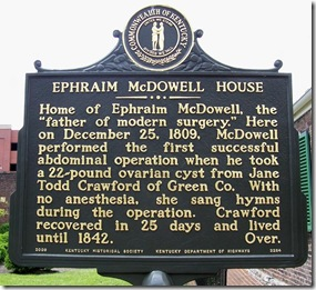 Ephraim McDowell House Marker 2284 on S. Second St., Danville, KY