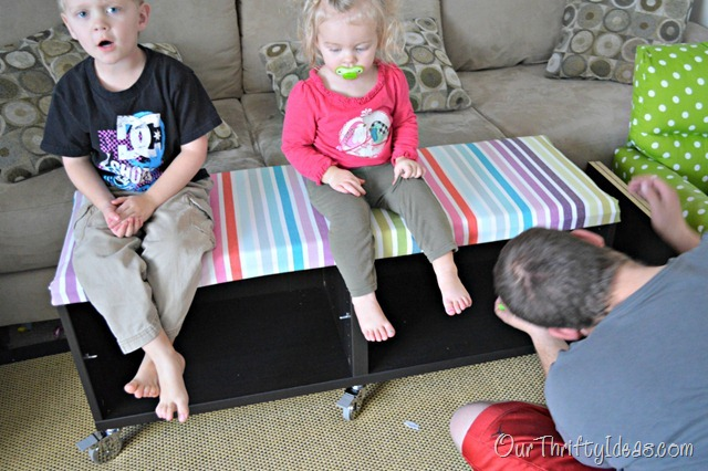Our Thrifty Ideas | #DIY Uphostered Bench out of a shelf unit from IKEA