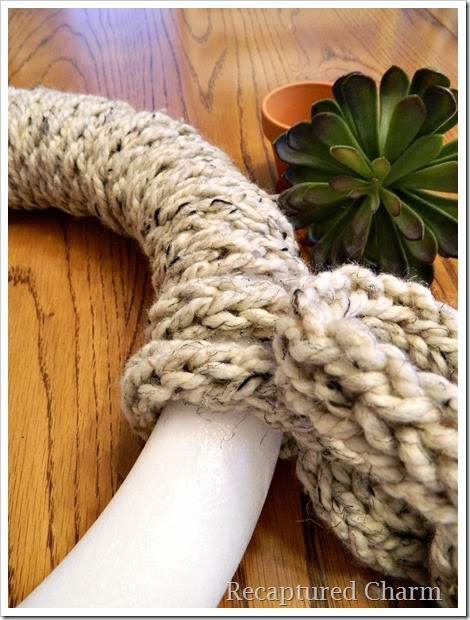 finger knitted wreath 8