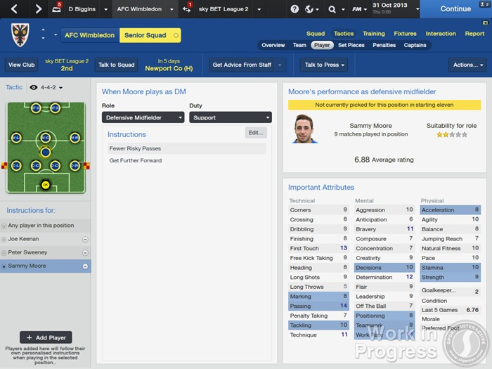 FM 2014 Tactics - Player Instructions