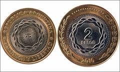 Neva moneda de 2 pesos
