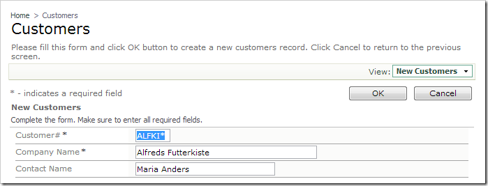The 'CustomerID' field is appended with an asterisk.