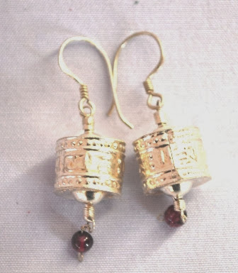 Om Mane Prayer Wheel Ear Ring