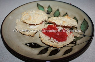 Coconut Topped Biscuit Scones -  with DIY Strawberry Jam