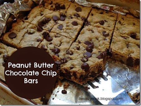 Peanut Butter Chocolate Chip Bars - The Cozy Nook