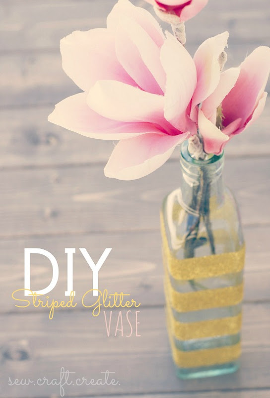 DIY Sttriped Glitter Vase by Sew Craft Create