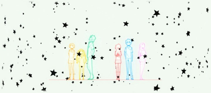 Colored outlines of the main characters stand in a line against a stark white backdrop with black stars all around them
