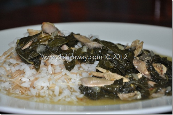 Molokhia (Jews Mallow) with Chicken Recipe by www.dish-away.com