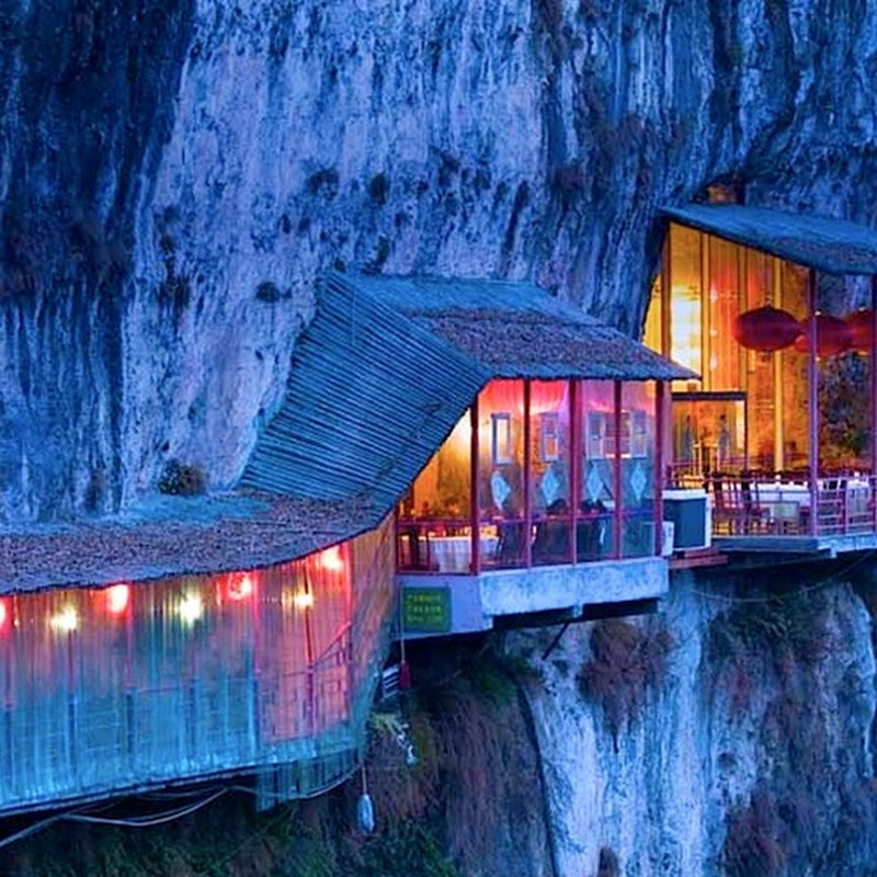 The Hanging Restaurant Fangweng in Yichang, China