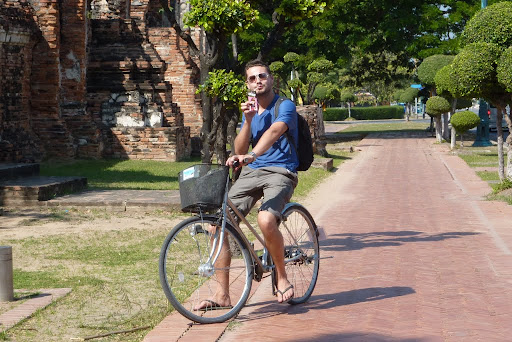 Enjoying a milkshake while cycling along Ayutthaya&#039;s streets. Dig the basket.