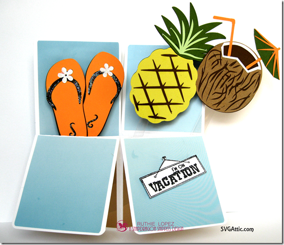 Box in a card - Summer Lovin´Blog Hop - SnapDragon Snippets - Pineapple - Coconut - Ruthie Lopez 5
