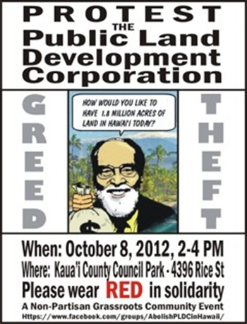 Kaua`i Monday, Oct 8 - PLDC PROTEST RALLY - 2-4PM Kauai