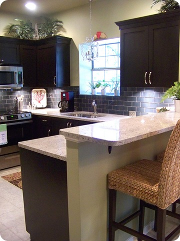 dark kitchen cabinets gray backsplash