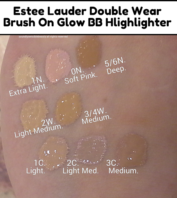 Estee Lauder Double Wear Glow Brush-On BB Highlighter/Concealer Pen; Review & Swatches of Shades. 1N, 0N, 2W, 3/4W, 1C, 2C, 3C, Extra Light, soft Pink, Deep, Light/Medium, Medium, Light