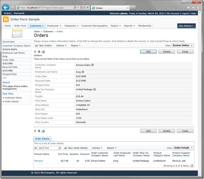 Baseline version of Orders screen