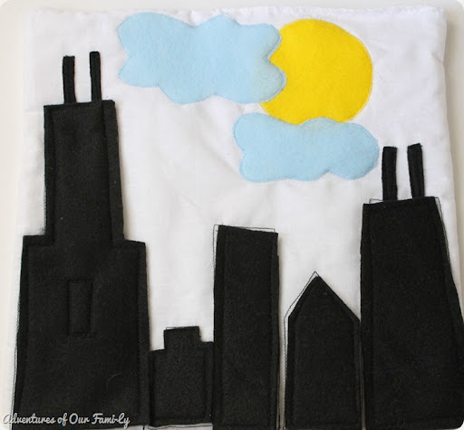 Quiet book Chicago skyline template kids felt