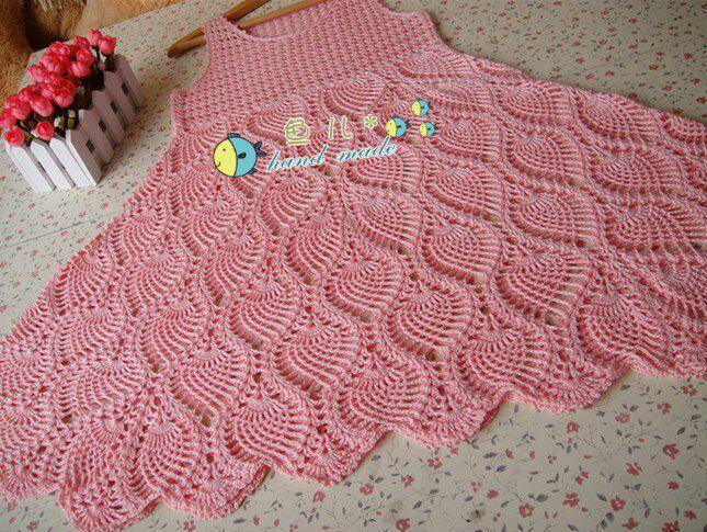 Puntada vestido a crochet hecho d piñas para niña - Imagui