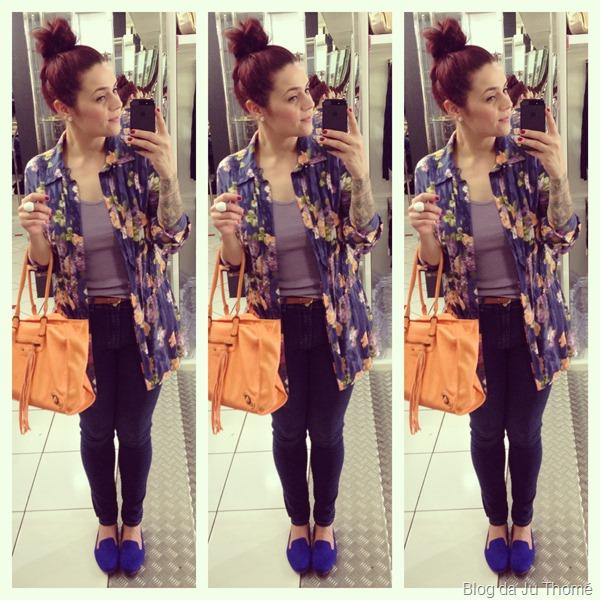 look jeans camisa floral e bolsa laranja (1)