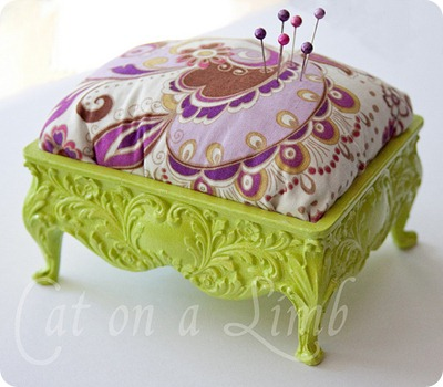 jewelry box into pincushion