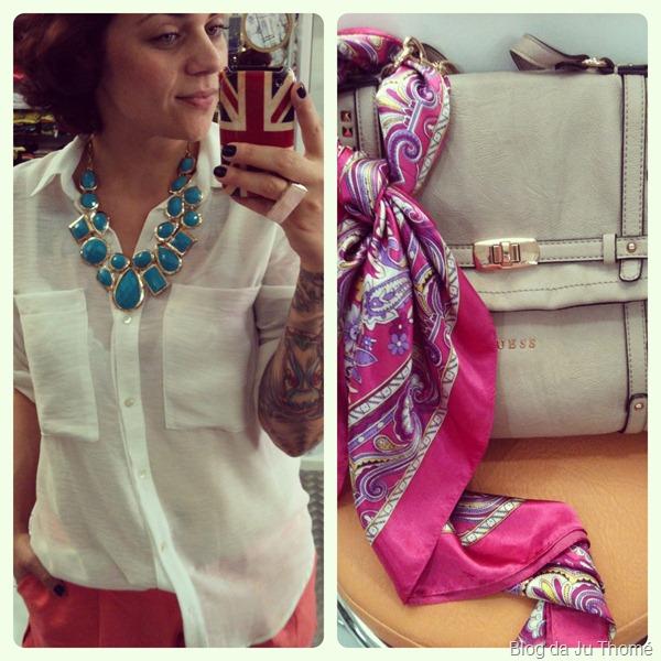 look detalhes camisa branca e maxi colar, bolsa GUESS e lenço de seda