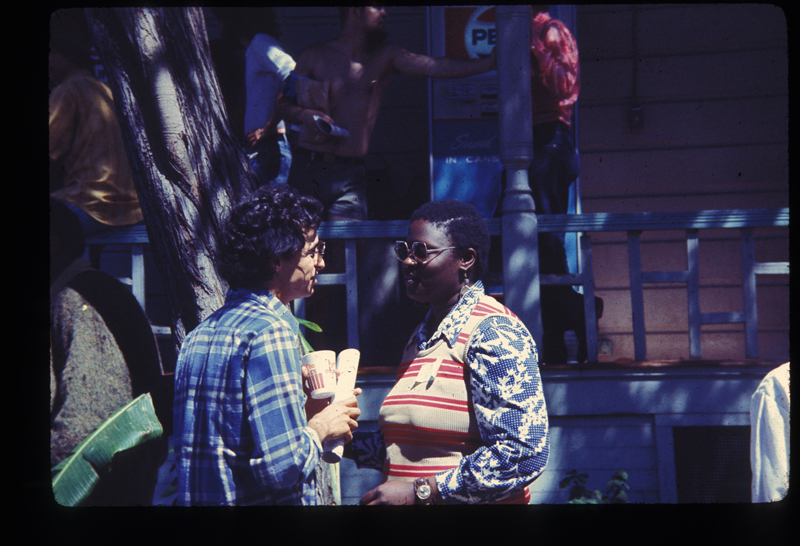 Roslyn Allen (right) at the Gay Community Services Center (GCSC). Circa 1972
