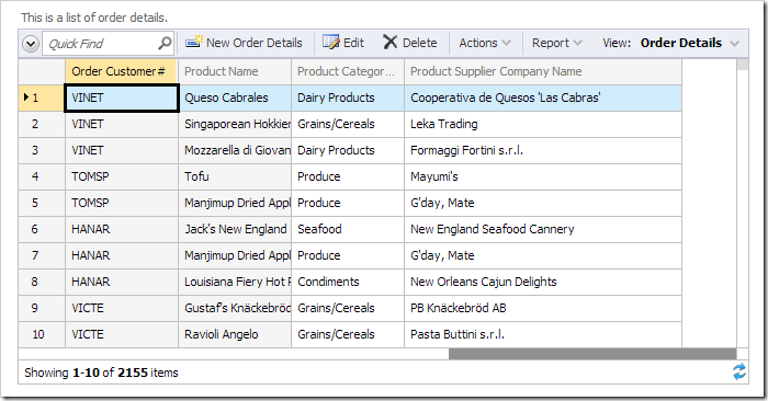 Frozen columns 'Order Customer#' and 'Product Name' continue to be displayed when the data sheet is scrolled to the right.